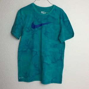 Nike Dri-Fit Teal Camo Active Workout T-Shirt